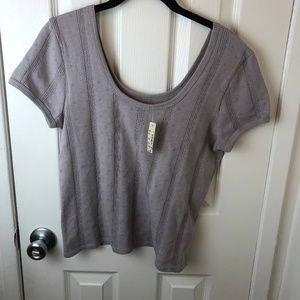 NWT Madewell Pointelle Ribbed Tee In Violet Dusk.
